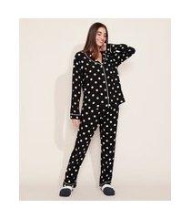 pijama feminino camisa estampado de poá com vivo contrastante manga longa preta