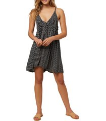 women's o'neill saltwater ditsy cover-up tank dress, size x-small - black