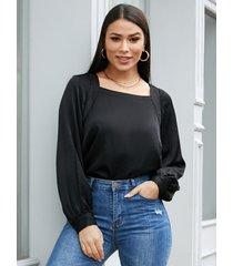 blusa de satén yoins cuello cuadrado negro linterna mangas