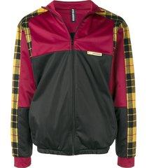astrid andersen check panel track jacket - black