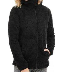 chaqueta larga con capucha negro 7.5 setepontocinco