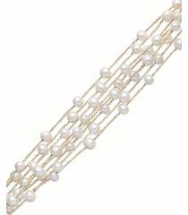 pearl bracelet, 14k gold over sterling silver cultured freshwater pearl 8-row bracelet (5-6mm)