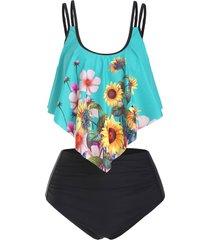 dual strap sunflower ruched flounce tankini swimwear