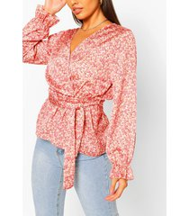 woven printed wrap blouse, coral