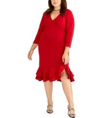 rachel rachel roy trendy plus size tiered ruffled sheath dress