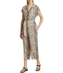 joie women's jailee leopard jumpsuit - ecru - size s