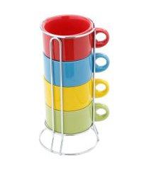 conjunto 4 xícaras bon gourmet porcelana para chá com suporte coloridas