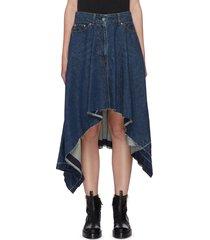asymmetric raw edge hem denim skirt