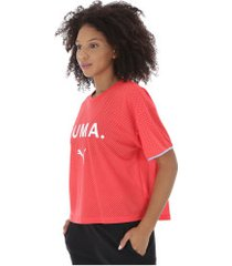 camiseta puma chase mesh - feminina - rosa escuro