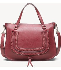 women's destin satchel vegan studded whipstich in color: oxblood bag vegan leather from sole society
