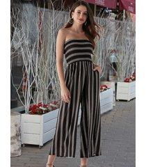 black stripe stretch waistband shirring tube jumpsuit