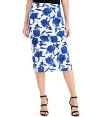 kasper petite floral-print skirt
