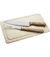 kit para churrasco tramontina com lâminas em aço inox e cabos em madeira natural 3 peças 22399036