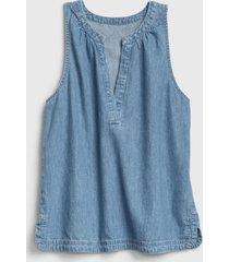 blusa jeans cuello zen denim gap