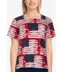 alfred dunner petite americana printed top