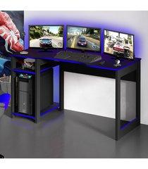 mesa gamer dark para 3 monitores preto/azul - pnr móveis