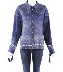 chloe cowboy shirt blue silk blue/white sz: l