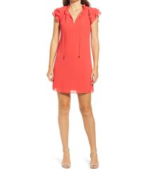 women's vince camuto ruffle tie neck shift dress, size 10 - red