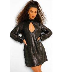 gesmokte jurk met pailletten, hoge hals en uitsnijding, black