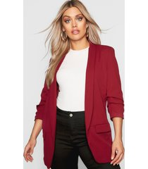 plus ruched sleeve blazer, wine