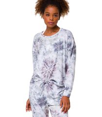 onzie women's high low after yoga sweatshirt - cobain tie dye small/medium spandex