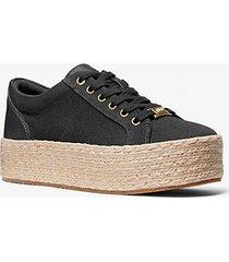 mk sneaker libby in tela di cotone con plateau - nero (nero) - michael kors