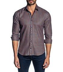 jared lang men's checkered button-down shirt - orange checks - size s