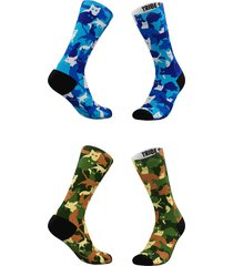 women's tribe socks assorted 2-pack green & blue camo cats crew socks, size one size - blue/green