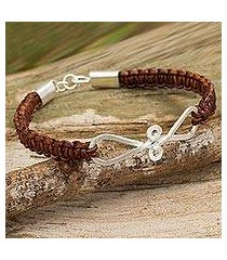leather and sterling silver braided bracelet, 'brown infinity swirl' (thailand)