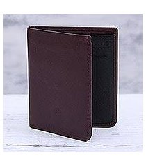 leather bifold wallet, 'noble cordovan' (india)