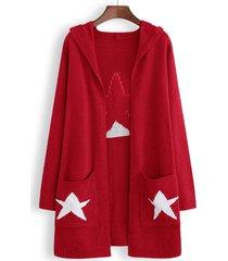 cardigan in maglia con cappuccio stelle stampate per donna