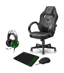 combo gamer - cadeira com função basculante 15°, headset raiko usb 7.1 3d led e mouse 3200dpi 6 botões preto/verde com mouse pad - ga182k ga182k