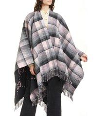 women's gucci reversible interlocking-g wool poncho