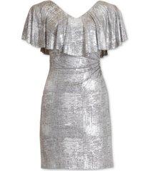connected plus size metallic cape-sleeve dress