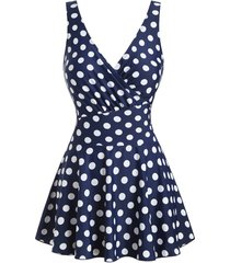 polka dot skirted surplice one-piece swimsuit