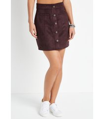 maurices womens suede button down high rise skirt brown