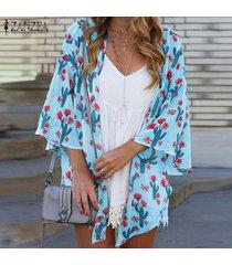 zanzea para mujer de la manga del batwing de la impresión floral de túnica remata la blusa cardiagn coats plus -azul