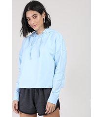 blusão feminino cropped em moletom com capuz azul claro