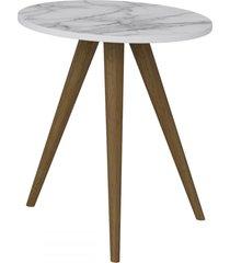 mesa de canto redonda 1006 retro branco/carrara - bentec