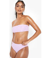 hoog uitgesneden badstoffen bikini broekje met reliëf, lilac