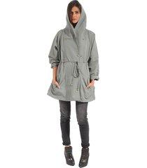 chaqueta color siete para mujer - gris