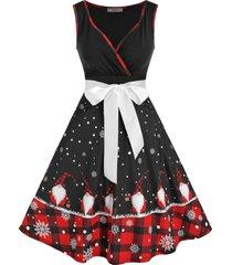 christmas santa claus snowflake print flare dress