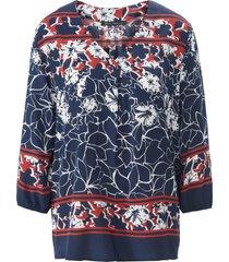 blouse 3/4-mouwen en overlappende v-hals van betty barclay blauw