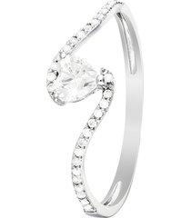 anello in oro bianco 18 kt e zirconi per donna