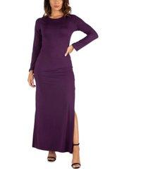 women's long sleeve side slit fitted maxi dress