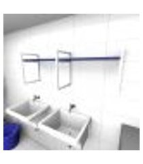 prateleira industrial para lavanderia aço branco mdf 30cm azul escuro modelo indb06azlav