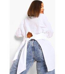 oversized tuniek t-shirt met split en rug strik, white