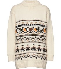 hand knit wool stickad tröja creme ganni