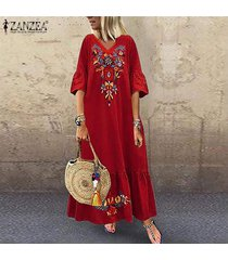 zanzea vestidos v para mujer floral cuello largo vestido de la playa de las señoras de vacaciones vestido de tirantes party -rojo
