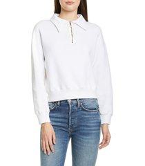 women's re/done '70s half zip sweatshirt, size small - ivory